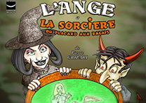 Affiche Théâtre L'Ange et la sorcière aux placards à balais - Illustration